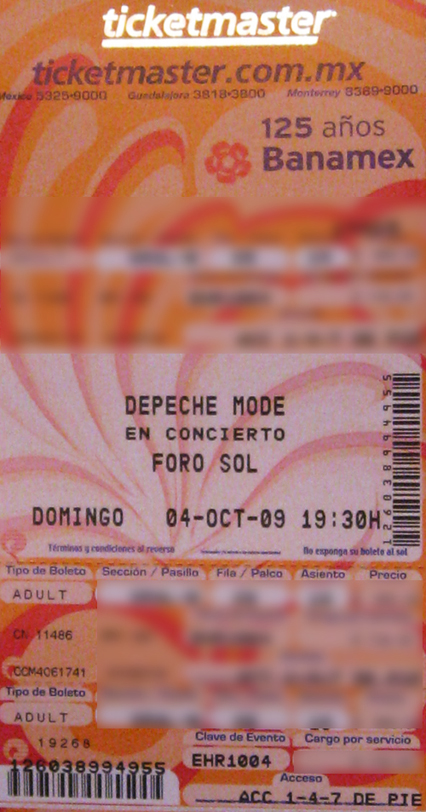 DEPECHE MODE TICKET
